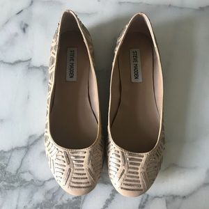 Steve Madden nicegirl flats nude and metallic